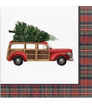 Handmade Holiday Christmas 20 pk 6.5'' Dinner Napkins-Tartan & Truck