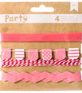 American Crafts DIY Party 4 pk Decorative Trims-Pink & White