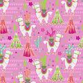 Super Snuggle Flannel Fabric-Aztec Llama On Pink