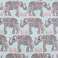 Anti-Pill Plush Fleece Fabric-Pattern Trap Elephant On Mint