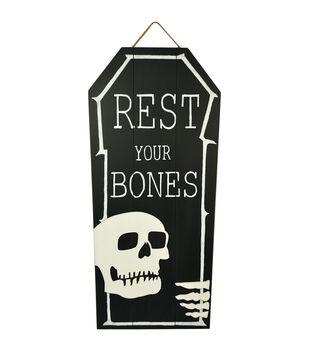 Maker's Halloween 28'' Coffin Wall Decor-Rest Your Bones