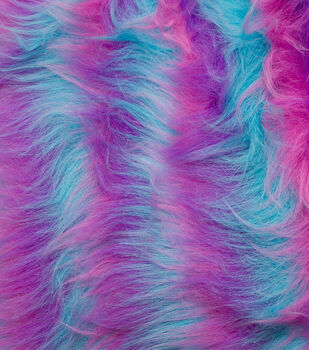 Fashion Faux Fur Fabric -Blue, Purple & Pink