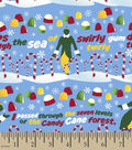 Elf Cotton Christmas Print Fabric -Candy Cane Forest