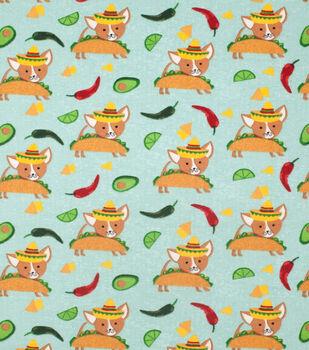 Super Snuggle Flannel Fabric-Taco Doggie