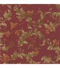 Alessia Red Scrolling Leaf Wallpaper