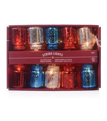 Americana Patriotic 10 ct Red, White & Blue Mason Jar String Lights