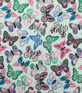 Doodles Juvenile Apparel Fabric -Multi Butterfly Interlock