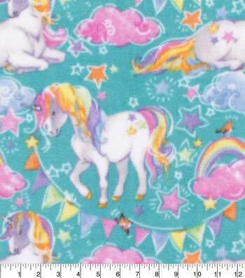 Anti-Pill Plush Fleece Fabric-Unicorns on Teal