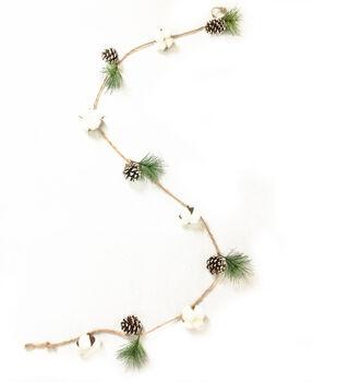 Handmade Holiday Christmas 66'' Cotton & Pinecone Minimalist Garland