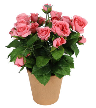 Fresh Picked Spring 11'' Potted Roses-Pink