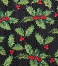 Christmas Cotton Fabric 43\u0022-Holly & Berries Wood Glitter
