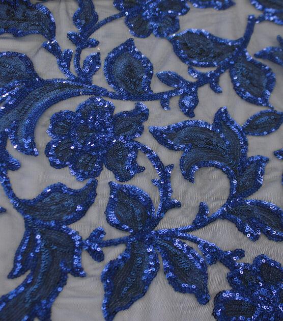 Casa Dahlia Sequin Embroidered Fabric Elegant Navy Blue, , hi-res, image 2