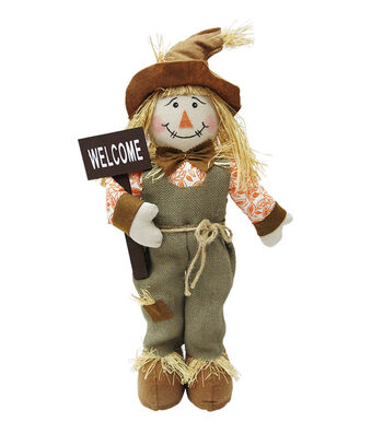 Simply Autumn 22'' Fall Boy Scarecrow Sitter-Welcome