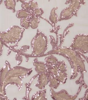 Casa Embellish Dahlia Fabric-Peach Blush Floral Sequin