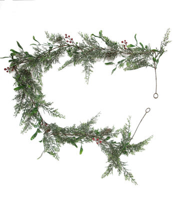 Blooming Holiday Christmas 4''x66'' Cedar Pine, Berry & Pinecone Garland