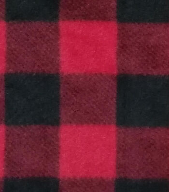 Anti-Pill Plush Fleece Fabric -Red Buffalo Check