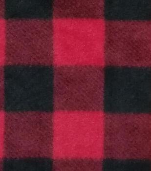 Anti-Pill Plush Fleece Fabric -Red Buffalo Check