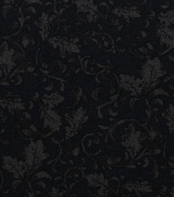 Harvest Cotton Fabric-Leaf Scrolls on Black