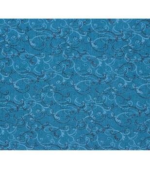 Keepsake Calico Cotton Fabric-Teal Scroll Texture