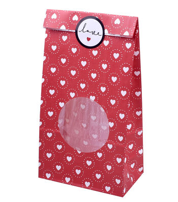 Valentine's Day Treat Bag-Red Hearts
