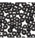 Glass E Beads, Black, 6/0, 20 grams