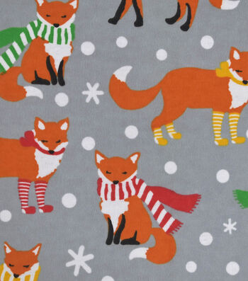 """Snuggle Flannel Fabric 42""""-Foxes With Scarves"""