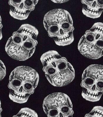 Halloween Cotton Fabric-Tossed Sugar Skulls