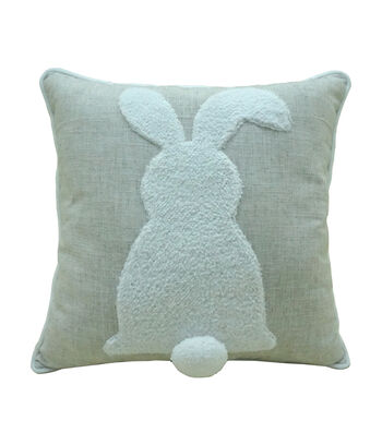 Easter Decor Bunny Silhouette with Pom Pom Tail Pillow
