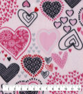 Anti-Pill Plush Fleece Fabric-Sketched Hearts on Pink
