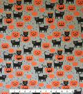Halloween Doodles Cotton Interlock Fabric-Cats & Pumpkins on Gray