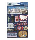 Jet Setters International Dimensional Stickers 4.5\u0022X6.75\u0022-America