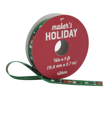 Maker's Holiday Traditional Holiday Ribbon 5/8''x9'-Nutcrackers on Green