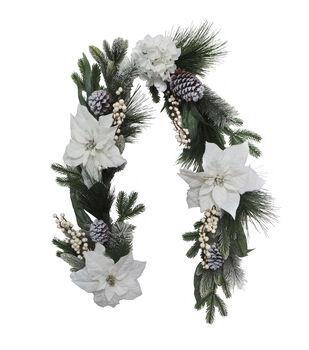 Handmade Holiday Christmas Pine, White Poinsettia & Hydrangea Garland