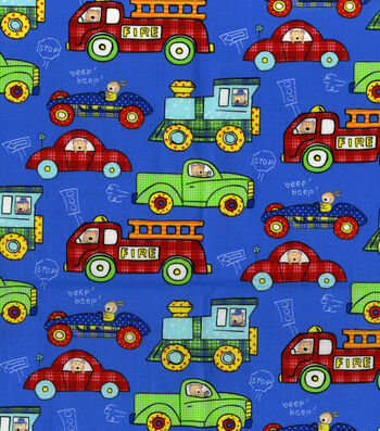 "Nursery Cotton Fabric 44""-Transportation Allover"