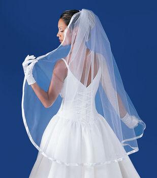 """Wilton 5/8"""" Ribbon Edged Bridal Veil-White"""