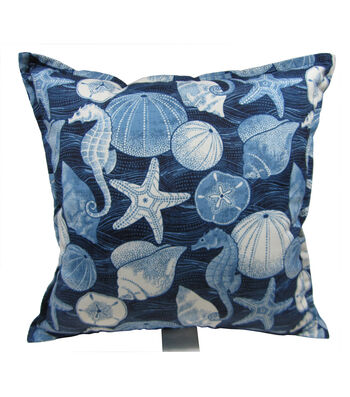 "Patio Oasis 19""x19"" Navy Shells & Seahorse Outdoor Pillow"