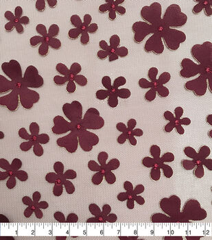 Sew Sweet Mesh Fabric-Floral on Red Plum