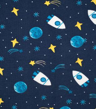 Nursery Flannel Fabric-Stars & Rockets in Space