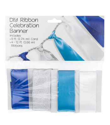 Offray Hanukkah DIY Ribbon Celebration Banner Kit-Silver & Blue