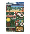 Jet Setters International Dimensional Stickers 4.5\u0022X6.75\u0022-Mexico