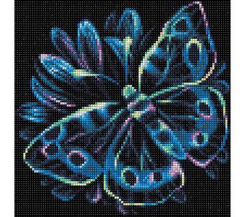 RTO Diamond Mosaic Embroidery Kit 25X25cm-Neon Butterfly