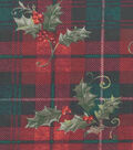 Christmas Cotton Fabric-Hollys On Plaid