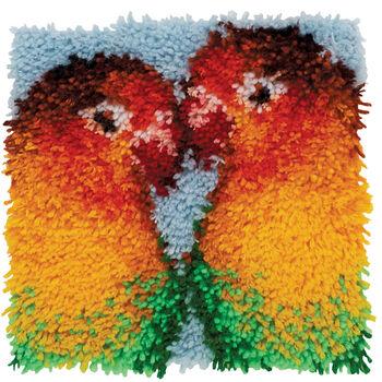 """Wonderart Latch Hook Kit 12""""X12""""-Lovebirds"""