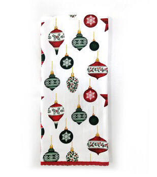 Handmade Holiday Christmas 16''x26'' Cotton Towel-Tossed Ornaments