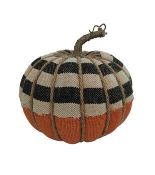 Maker's Halloween Large Burlap Pumpkin-Stripes