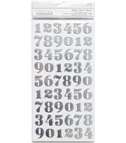 American Crafts DIY Shop 3 Thickers Chipboard Number Stickers with Foil, , hi-res