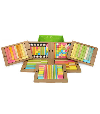Tegu Magnetic Wooden Blocks, Classroom Kit in Tints, 240 Piece