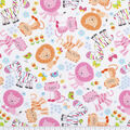 Super Snuggle Flannel Fabric-Baby Zoo White