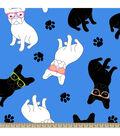 Anti-Pill Fleece Fabric 59\u0022-French Bulldogs Wearing Glasses