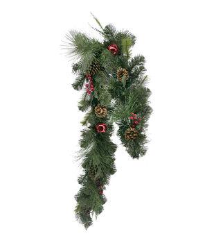 Handmade Holiday Christmas 66'' Pine, Pinecone, Red Bell & Berry Garland